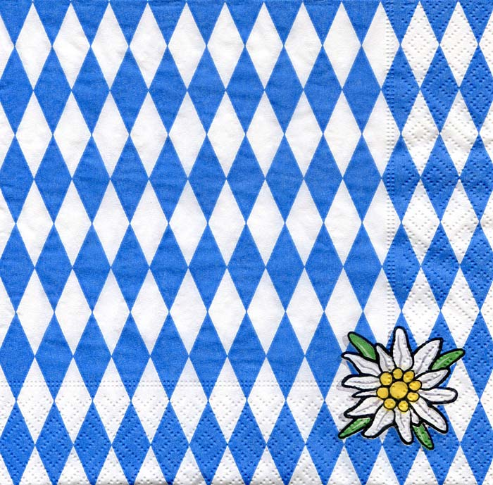 oktoberfest servietten bavaria raute blau weiss 33x33 cm 20 st ck eur 3 10 miroflor. Black Bedroom Furniture Sets. Home Design Ideas